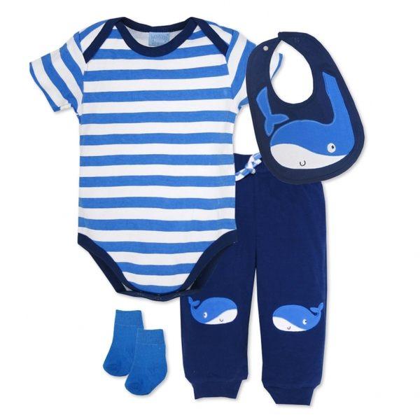 彌月禮 女寶 Luvena Fortuna   短袖包屁衣+長褲 套裝4件組 - 藍條紋鯨魚 H9787