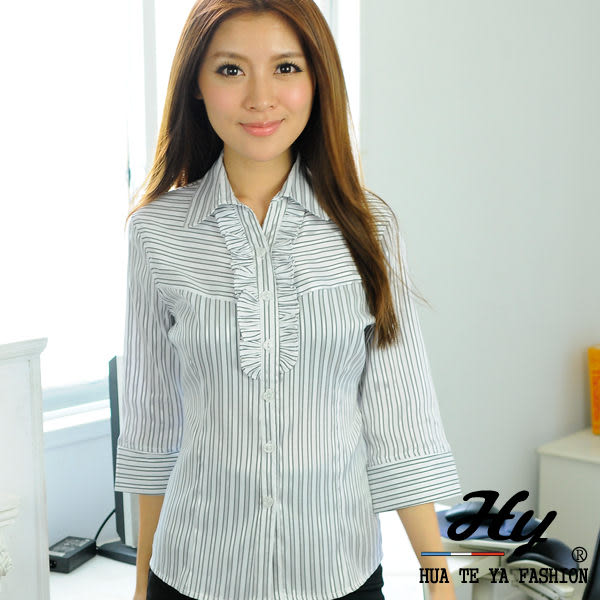 【HY-861-7GZ】華特雅-絲光亮眼OL花邊七分袖女襯衫(淺灰亮銀條紋)