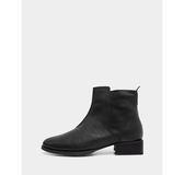 真皮短靴-R&BB牛皮*設計感剪裁內側拉鍊平底低跟靴-棕色