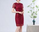 (45 Design)  大尺碼短禮服蕾絲 中國風 中老年旗袍 兒女結婚婚禮洋裝4