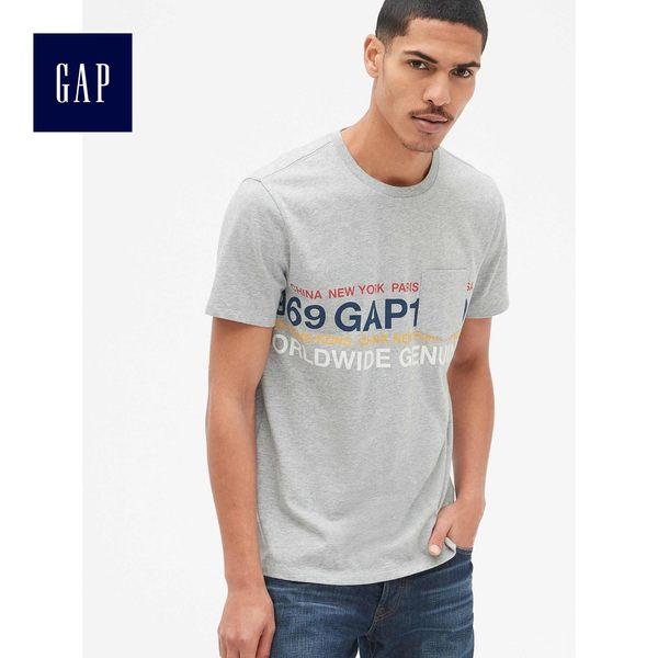Gap男裝 Logo印花休閒圓領短袖T恤 441467-麻灰色
