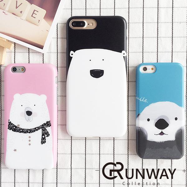【R】韓國 可愛圍巾 北極熊 海獺 女孩圖案 iPhone 7 8 蘋果 IMD 手機殼 防摔磨砂殼