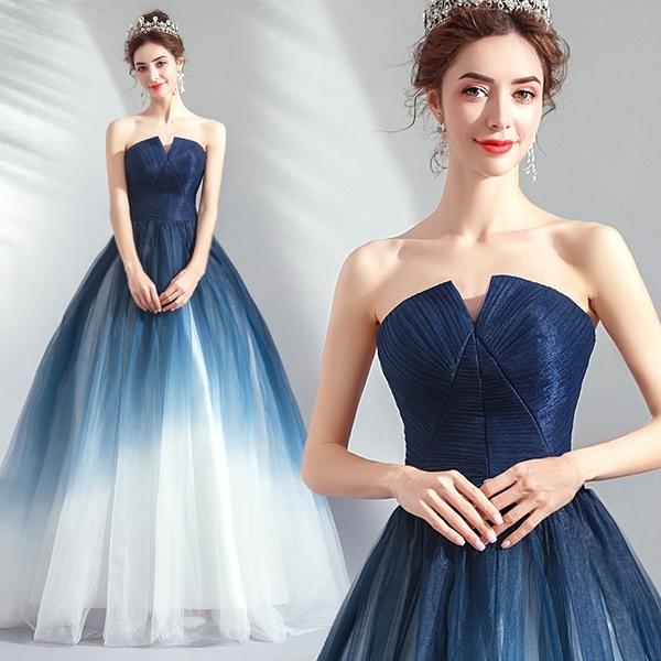 夢幻星空漸變洋裝裙 藍色宴會年會演出婚紗晚禮服 支持人畢業演出禮服