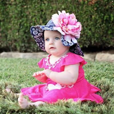 遮陽帽 / 寶寶帽 Jamie Rae 遮陽帽/嬰兒帽 海軍藍底白圈圈糖果粉牡丹 SH-NB-CPLP