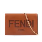 【FENDI】Logo 小牛皮皮夾式鏈帶WOC包(焦糖色) 8BS006 AAYZ F0QVK