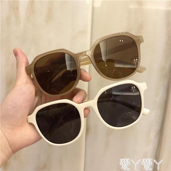 墨鏡韓國ulzzang復古方框茶色超輕太陽眼鏡小框圓臉網紅百搭墨鏡女新品