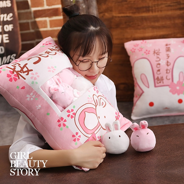 SISI【G8021】現貨人氣ins日本櫻花兔子仿真少女零食絨毛抱枕交換禮物情人節聖誕節禮物尾牙