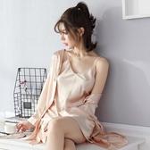 春秋季冰絲吊帶睡裙睡袍性感蕾絲綢睡衣女夏日式兩件套裝長袖浴袍