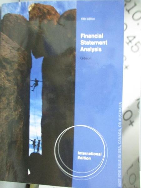 【書寶二手書T5/大學商學_XBN】Financial Statement Analysis_Gibson