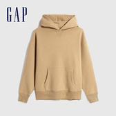 Gap男裝 簡約風格純色連帽休閒上衣 627533-駝色
