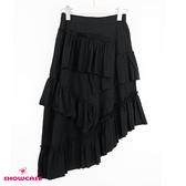 【SHOWCASE】休閒款細褶多層次斜口襬中長裙(黑)