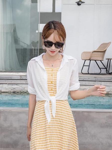 罩衫 配吊帶裙的小披肩夏季百搭配裙子外搭開衫女薄款雪紡短款外套批肩