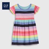 Gap 女幼童 撞色條紋圓領洋裝 539810-藍紅條紋