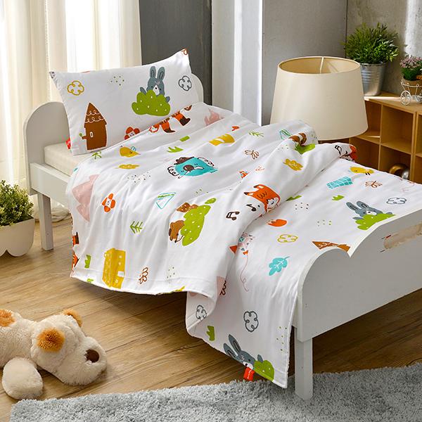 義大利Fancy Belle X LaLa Woodland《與花仔野餐去》兒童純棉防蹣抗菌兩用被枕頭2件組(3.5x4.5尺)