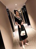 海外直發不退換法式復古洋裝禮服9973#新款大碼女裝胖mm遮肚長款連衣裙前后兩穿(M3F 特1-A)