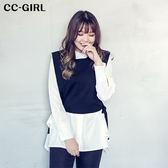 中大尺碼 兩件式長款襯衫上衣+顯瘦黑色馬甲背心 - 適XL~4L《 65260E 》CC-GIRL