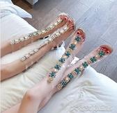 網紗靴網紗鏤空涼靴女夏季新款靴子花朵水鑽粗跟高跟鞋透明及膝靴潮 【快速出貨】