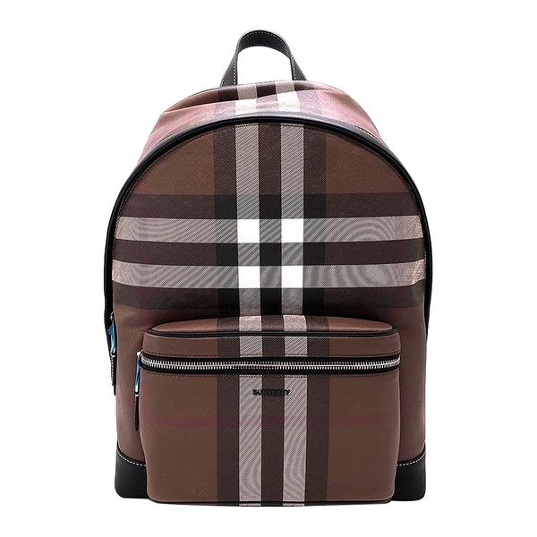 【台中米蘭站】全新品 BURBERRY Check 格紋環保帆布後背包(8036549-摩卡棕)