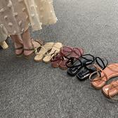 一字帶涼鞋女2019夏季新款韓版仙女風時尚百搭簡約低跟性感露趾潮