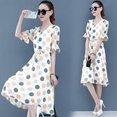 洋裝女2021新款夏季收腰減齡氣質女神范中長款波點雪紡裙子