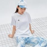 T恤 刺繡拼接質感短袖T恤PV9945-創翊韓都