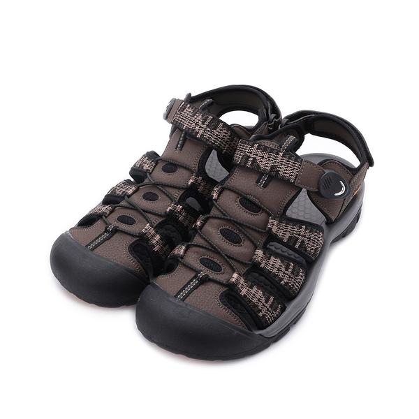 RED ANT 磁釦織帶護趾涼鞋 咖棕 男鞋