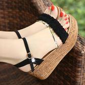 韓版坡跟涼鞋中高跟魚嘴厚底松糕鞋【南風小舖】