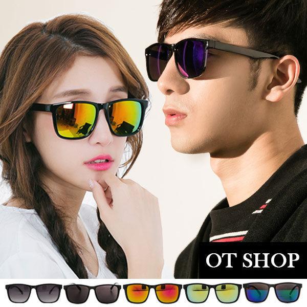 OT SHOP太陽眼鏡‧抗UV400台灣製中性情侶款復古方細框水銀鏡感墨鏡 現貨 M07