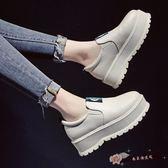 鬆糕厚底單鞋女韓國學生時尚百搭休閒懶人增高女鞋子 「尚美潮流閣」