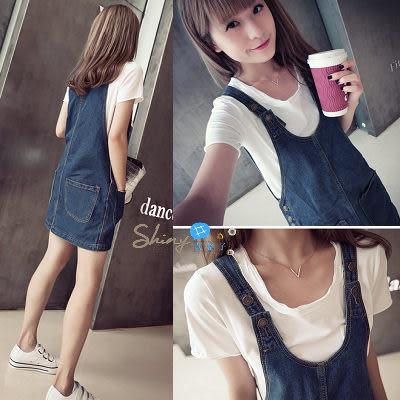 【V0787】shiny藍格子-夏約輕甜.時尚顯廋前後雙口袋造型吊帶牛仔裙