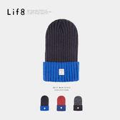 Casual 高磅針織 雙色復刻毛帽-黑藍【05303】