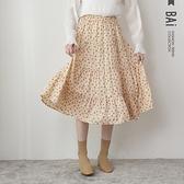 長裙 點點花朵蛋糕傘擺鬆緊雪紡裙-BAi白媽媽【310157】