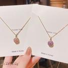 《Caroline》韓國時尚風格旋轉鋯石項鍊網紅ins簡約氣質鈦剛項鍊72619