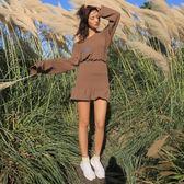 VK精品服飾 韓國風一字領露肩魚尾裙套裝長袖裙裝