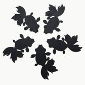 dipper│原創彩色金魚杯墊/桌墊/隔熱墊-黑色五入