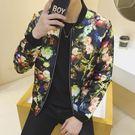 飛行夾克 男士薄款 韓版印花大碼外套