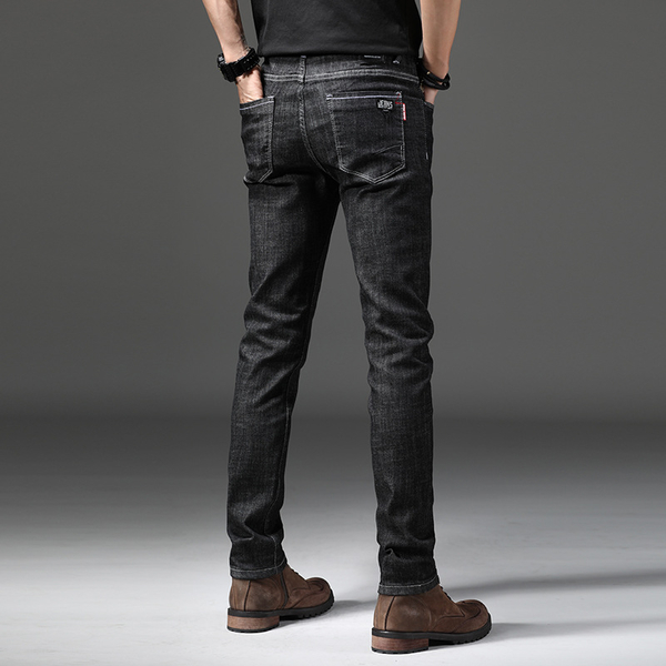 FreeShop 特級彈性SKINNY FIT牛仔褲 合版修身直筒彈力牛仔長褲 窄版 黑色 小中大尺碼【QTJ1619】
