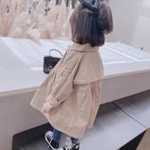 女童英倫風衣中長款秋裝新款兒童時髦外套大衣寶寶韓版洋氣上衣潮 雙十二全館免運