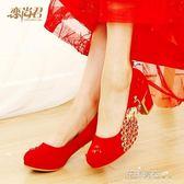 婚鞋中跟水鑽單鞋女婚禮鞋紅鞋舒適大碼粗跟孕婦紅色新娘鞋子·花漾美衣
