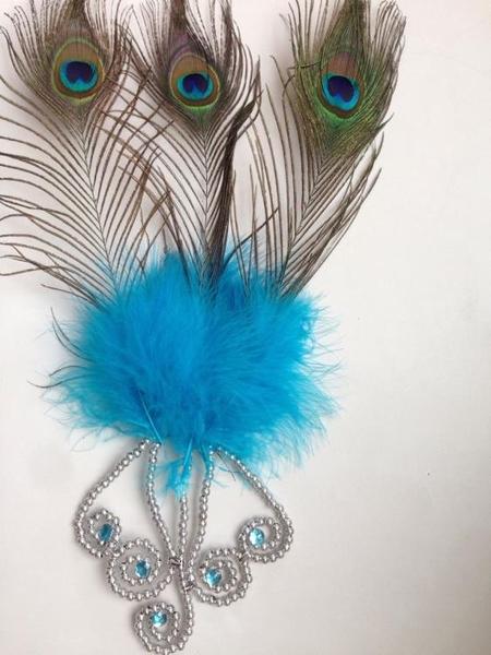 舞蹈服裝孔雀舞頭飾孔雀羽毛配飾