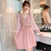 超殺29折 韓國風針織拼接網紗收腰系帶氣質長袖洋裝