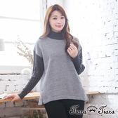 【Tiara Tiara】激安 假兩件式純棉衣x羅紋針織長袖上衣(淺灰)
