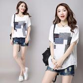 夏裝新款大尺碼棉麻寬鬆休閒貼布短袖白色T恤女裝文藝范