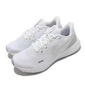 Nike 慢跑鞋 Wmns Revolution 5 白 銀 入門款 路跑 運動鞋 女鞋【ACS】 BQ3207-100