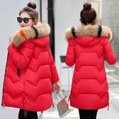 冬季新款大毛領棉衣女中長款修身加厚大碼羽絨棉服韓版棉襖外套潮