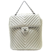 CHANEL 香奈兒 金屬銀色牛皮山型紋後背包 Urban Spirit Backpack Chevron BRAND OFF