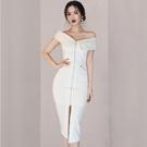 洋裝 性感裙 長裙 S-XL新款修身性感一字領中長款拉鍊開叉包臀連身裙NE49-7865.皇朝天下