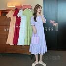 夏季韓版新款chic一字領氣質收腰顯瘦流行短袖洋裝仙女裙子 魔法鞋櫃