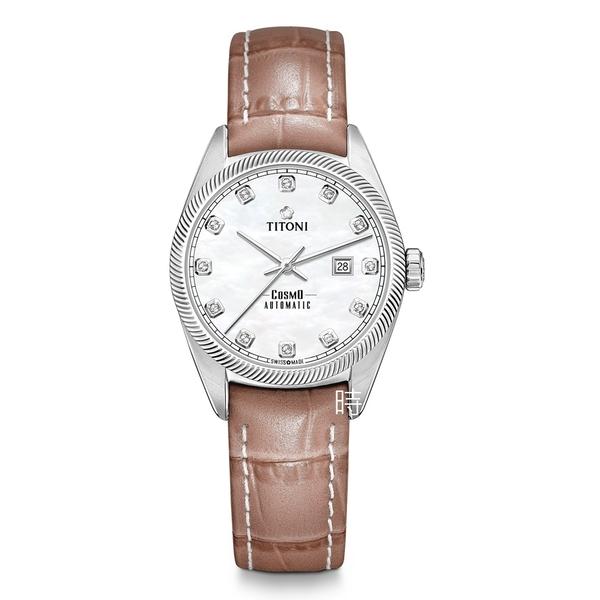 TITONI 梅花麥 瑞士 時尚機械錶 (818S-ST-622) 禮物/珍珠母貝