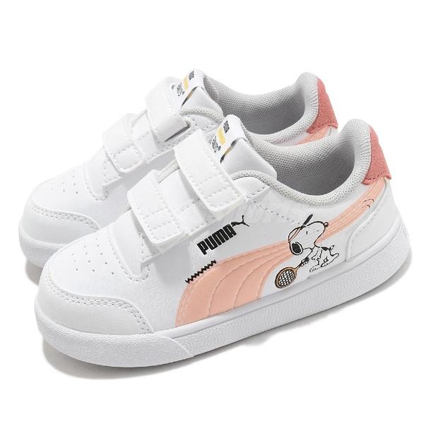 Puma 童鞋 Peanuts Shuffle V Inf 白 粉紅 史努比 魔鬼氈 幼童鞋【ACS】 37574102